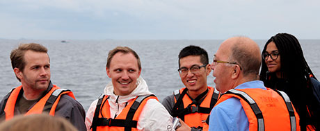 Students and course leader on research vessel Nereus