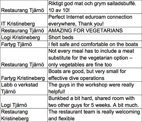 Examples of comments about restaurant, it, lodging etc.