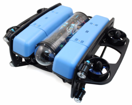 Manufacturer's photo of blue and black underwater vehicle