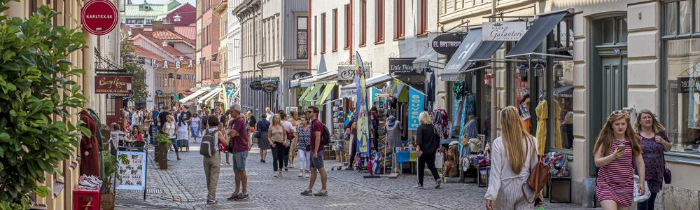 People strolling around in the district Haga in Gothenburg city.