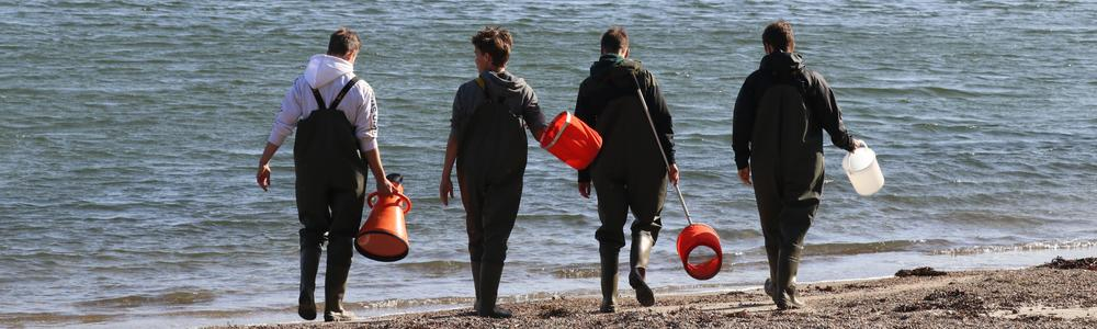 Four high school students with equipment heading for shallow sandy bottom