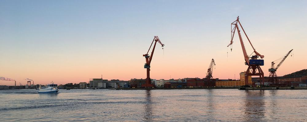 Cranes in the port of Gothenburg.