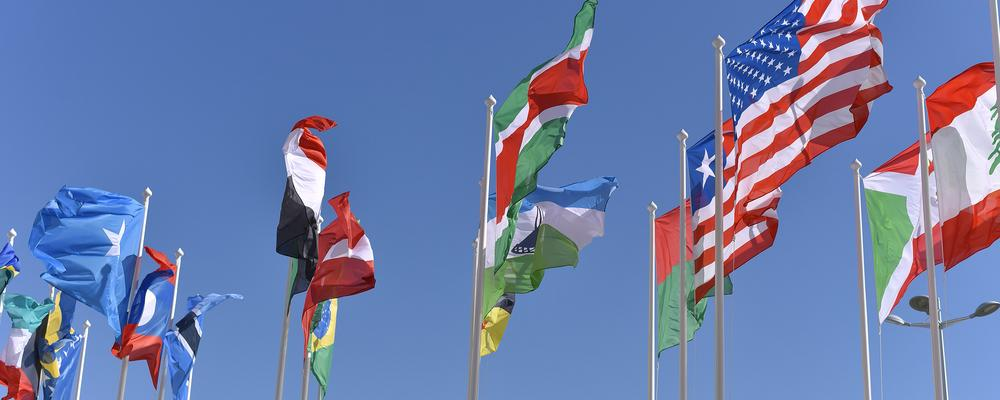 International flags, blue sky