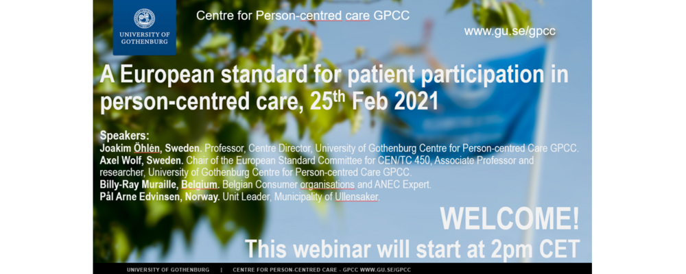Staring image of webinar A European standard for patient participation in person-centred care