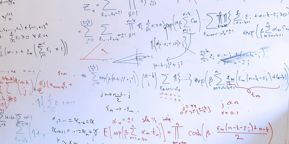 Calculations on a whiteboard