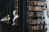 old statues in an old fashioned library