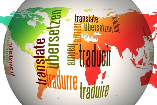 Globe with the word translate in different languages