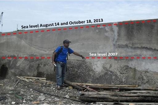 Image showing rising sea level from 2007 to 2013,