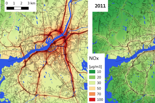 Map showing NOx-levels in Gothenburg 1990 and 2011