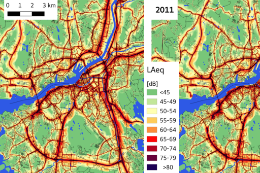 Map showing Noise-levels in Gothenburg 1990 and 2011
