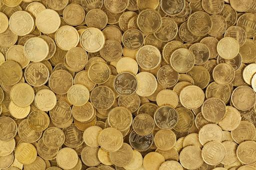 Yellow euro coins