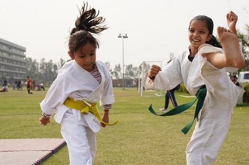 Girls doing martial arts