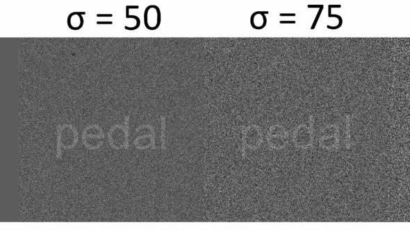 Different degrees of white noise shown on screens.